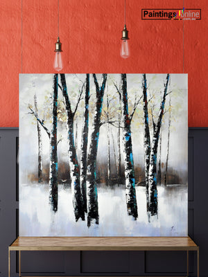 Snow White Trees Oil Painting - paintingsonline.com.au