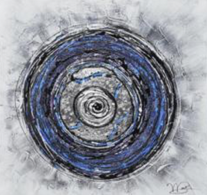 Blue Spiral Mix Media Abstract - paintingsonline.com.au