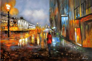 Umbrella lady Cityscape Oil Painting - paintingsonline.com.au