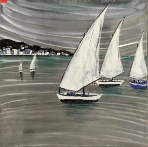 Boat Race, Oil Painting On Metallic  Canvas - paintingsonline.com.au
