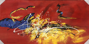 Yellow Red Abstract Oil Painting - paintingsonline.com.au