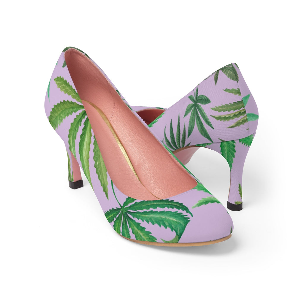 Leaves on Lavender High Heels