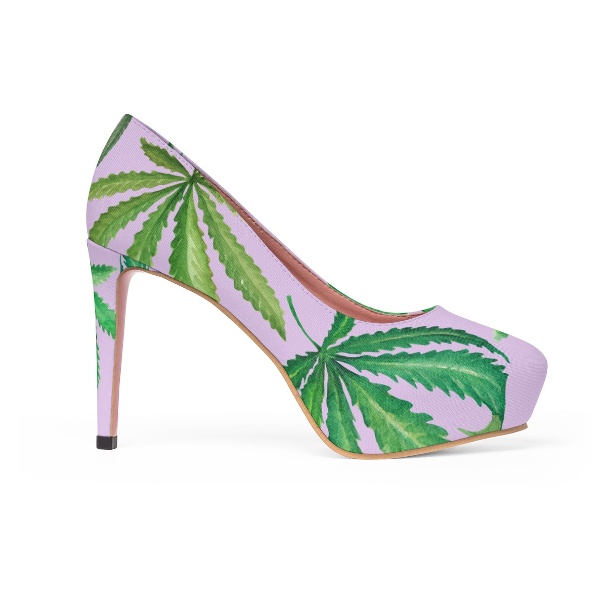 Leaves on Lavender Platform Heels