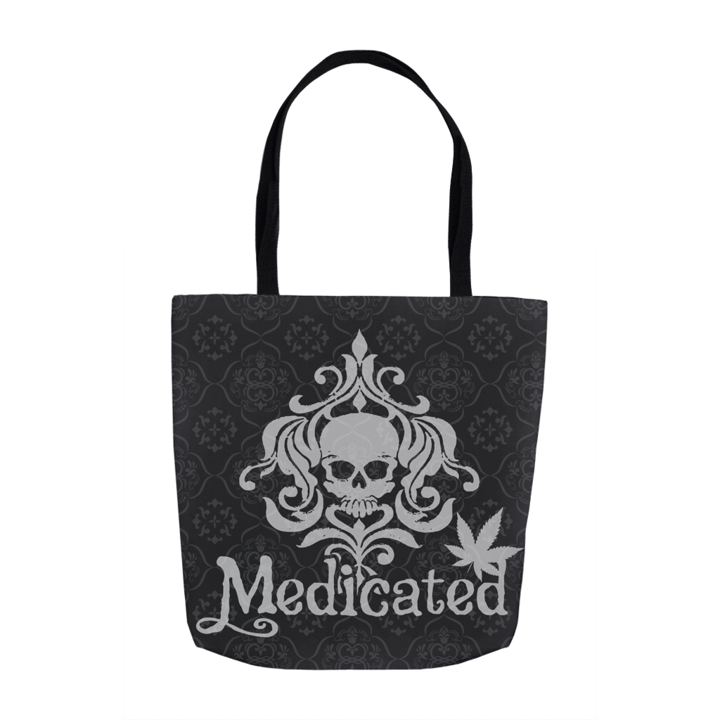 Medicated Skull Damask Tote