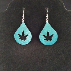 Teardrop Shaped Cannabis Leaf Earrings