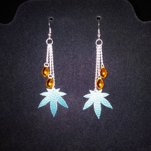 "Cannabis Leaf Earrings with Amber Glass ""Dabs"""