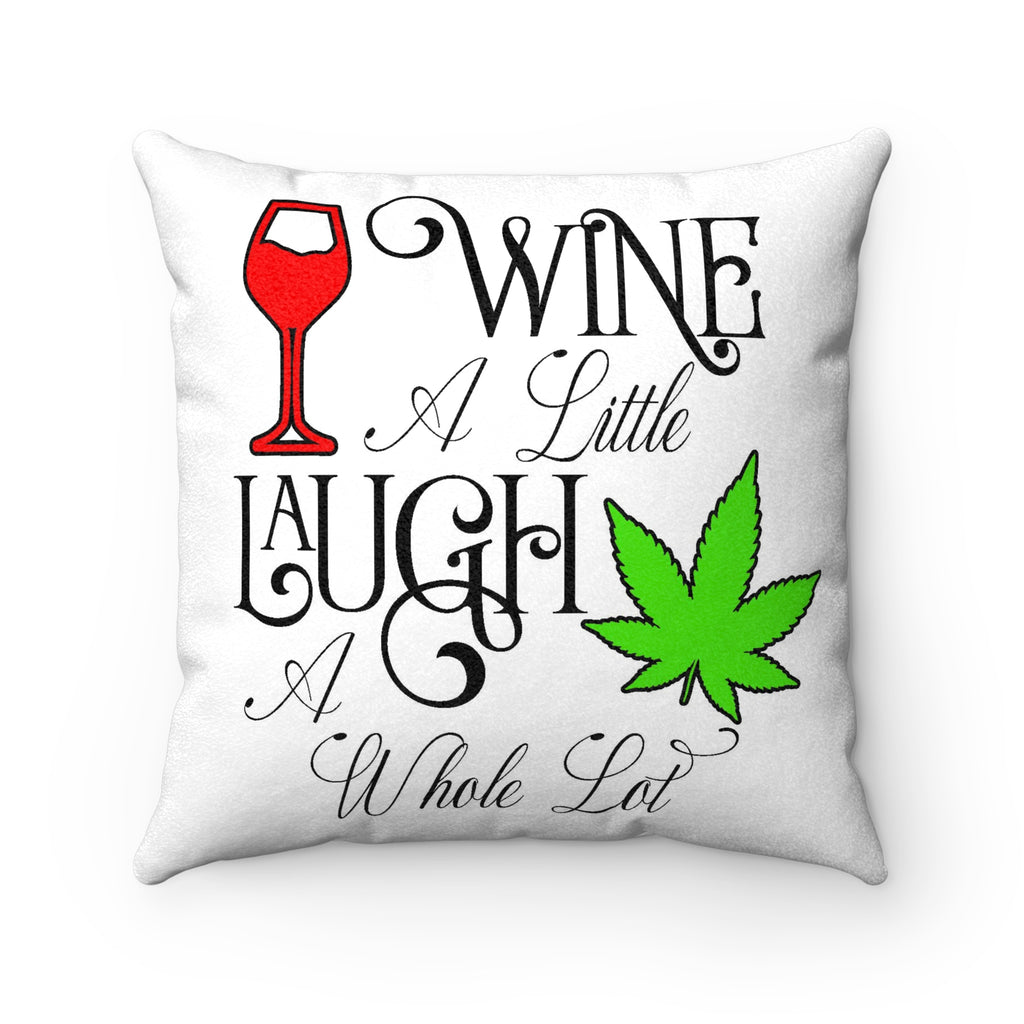 Wine A Little Faux Suede Square Pillow