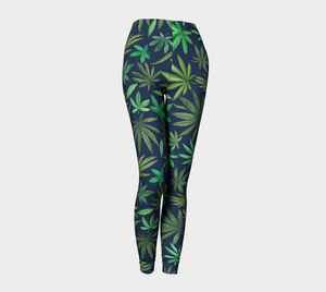 Watercolor Cannabis Leggings