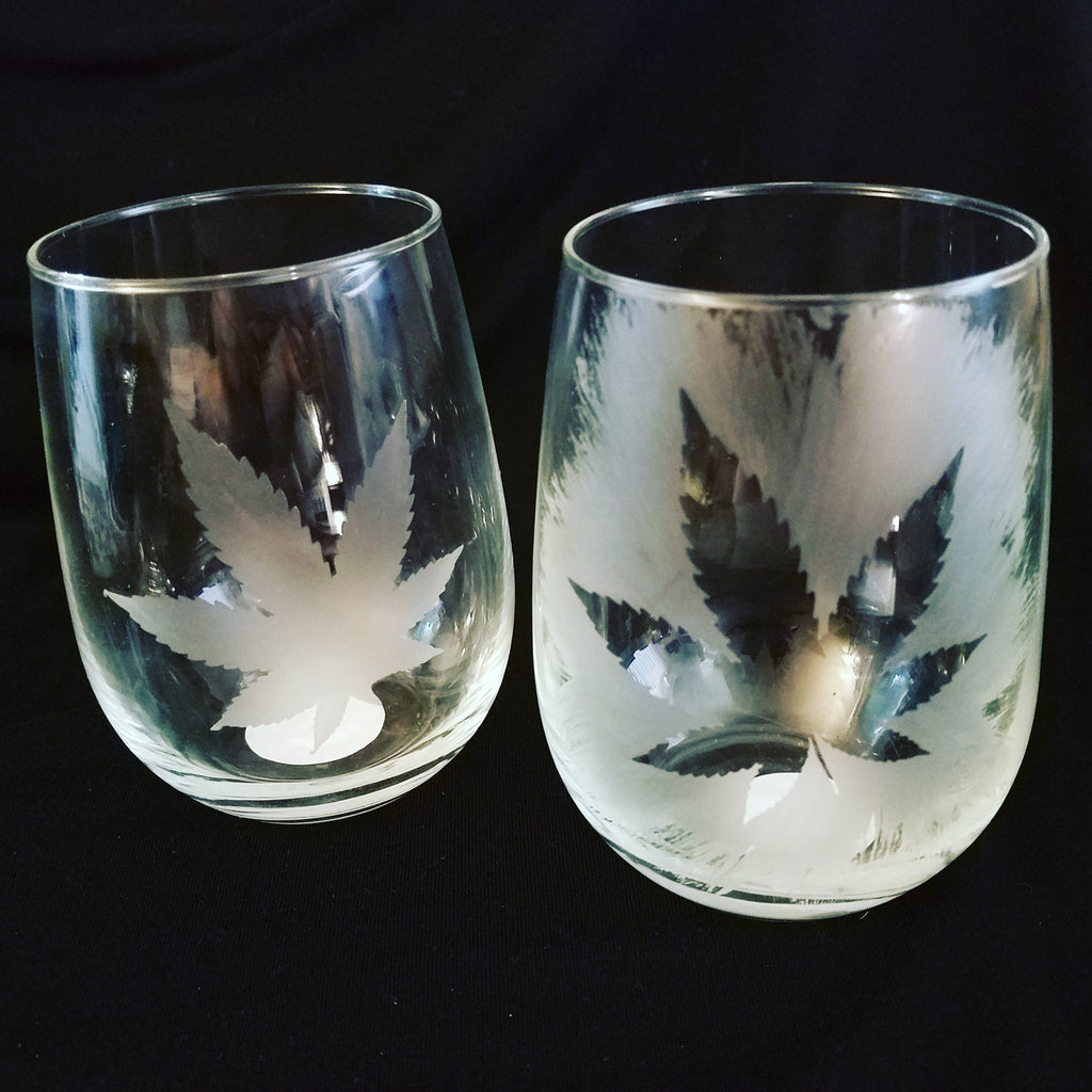 Hand-Etched Stemless Wine Glasses