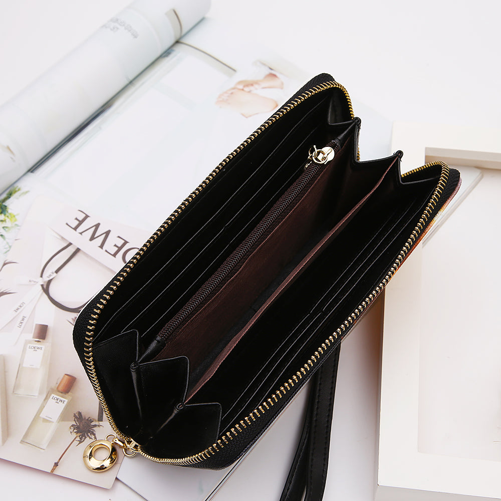PU Leather Wallet with Zip-Around Closure