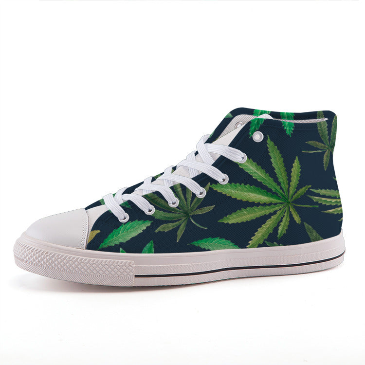 Watercolor Leaves High-top Canvas Shoes