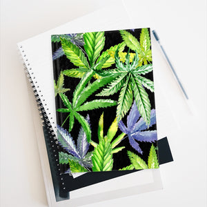 Watercolor Cannabis Leaves on Black Journal