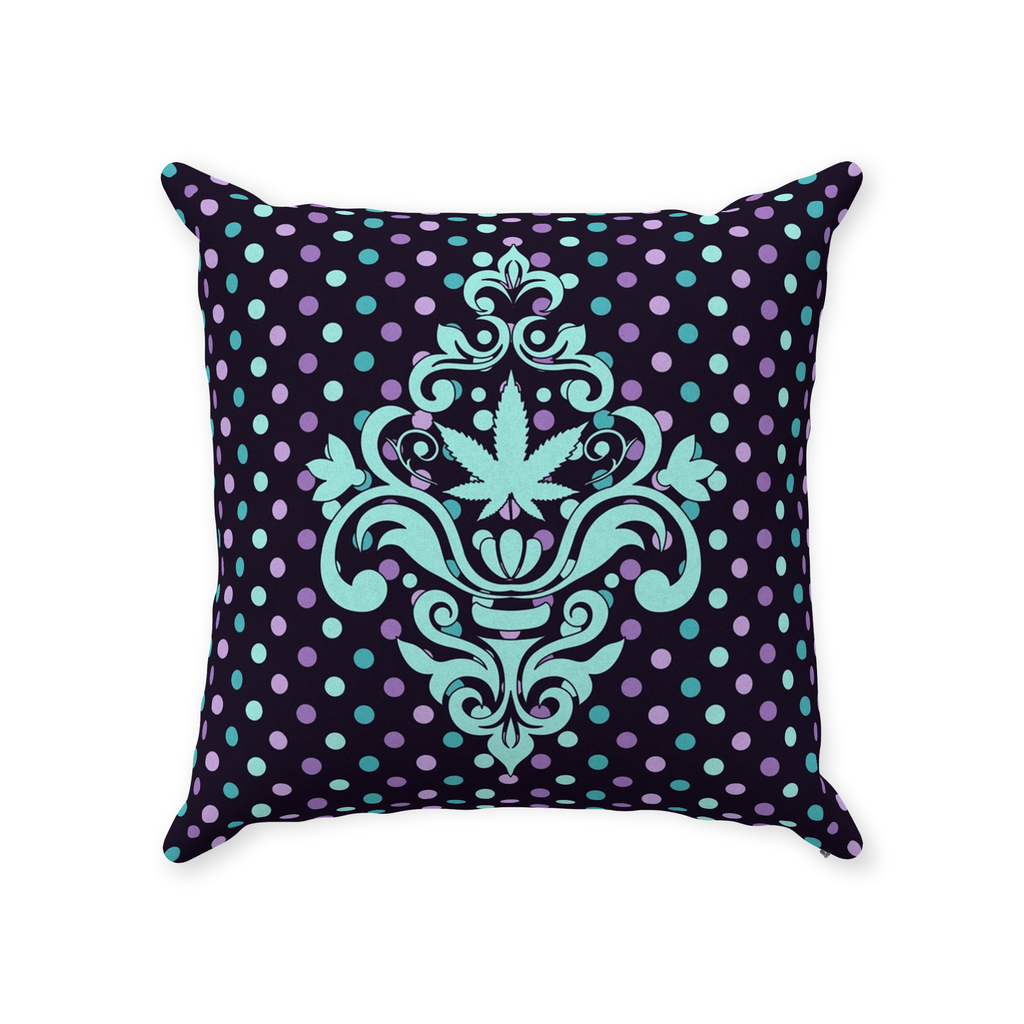 Cannabis Damask Pillow- Teal and Purple Dots