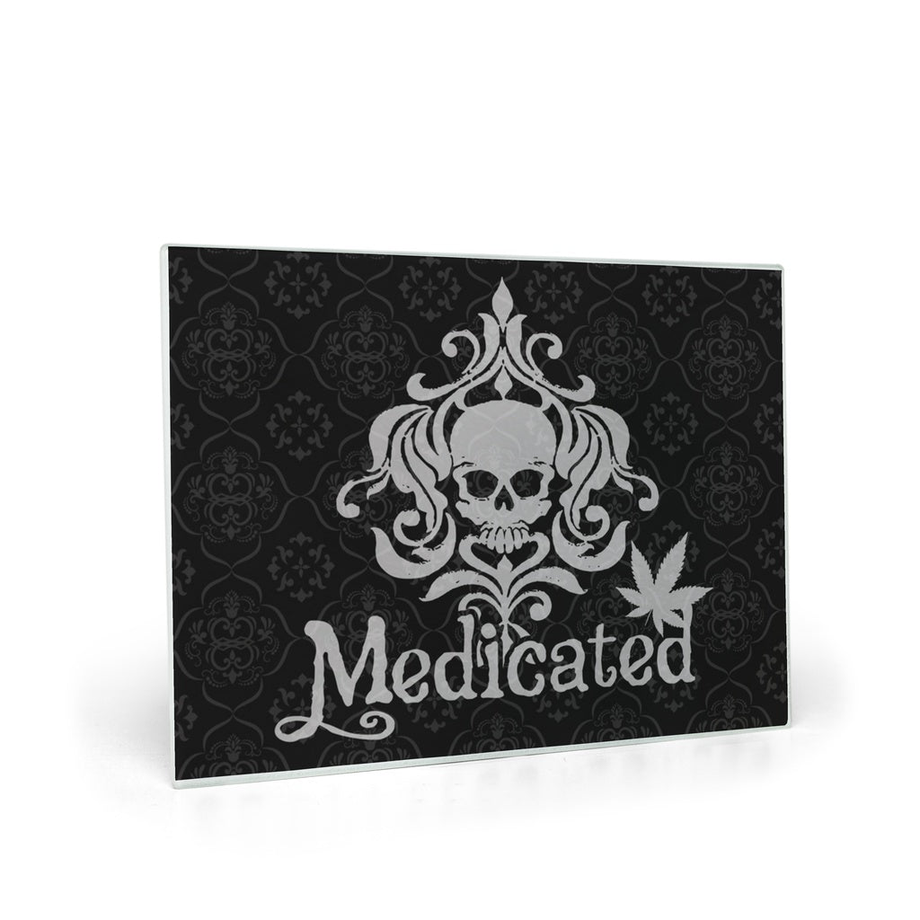 Medicated Skull Damask Glass Cutting Board