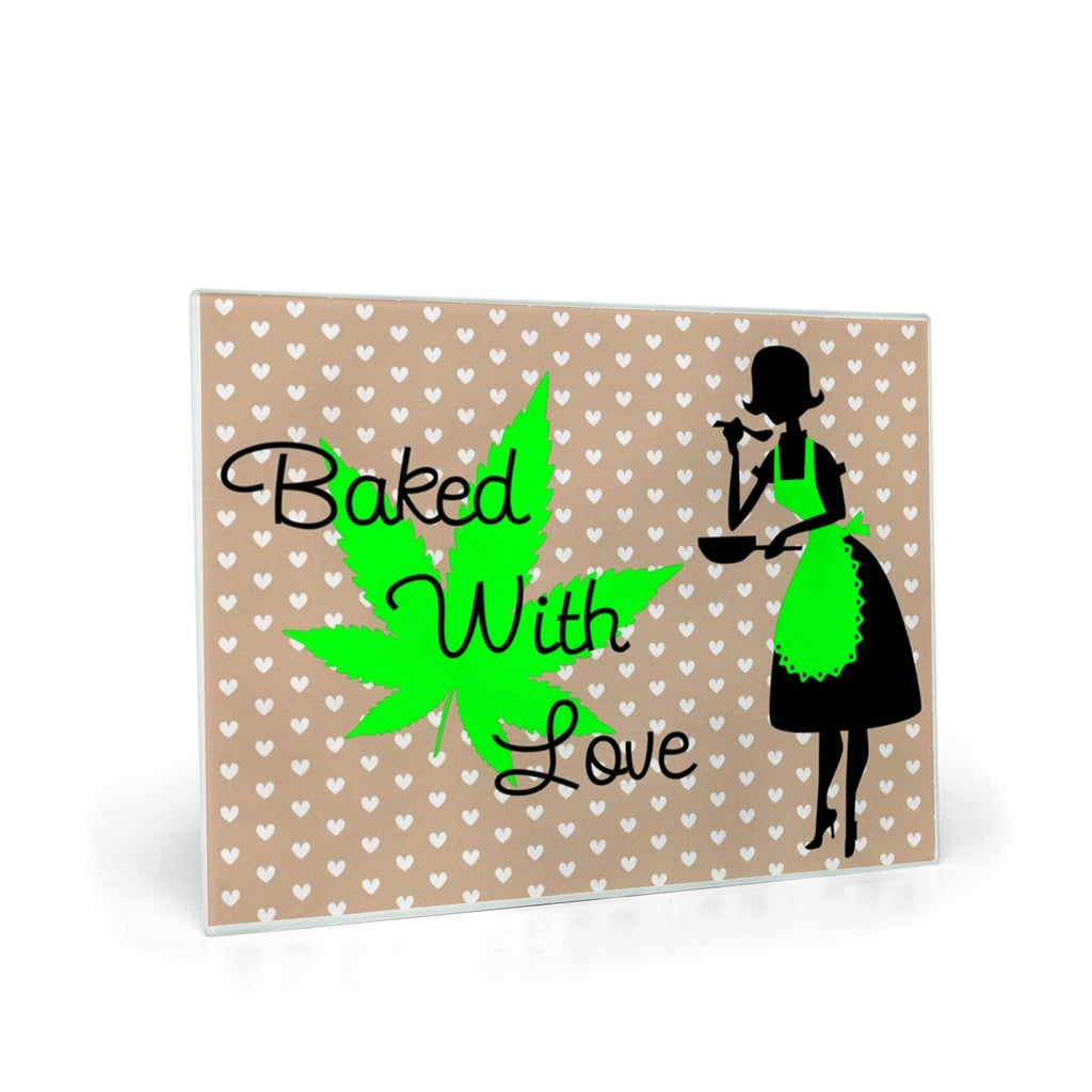 Baked With Love - Glass Cutting Board