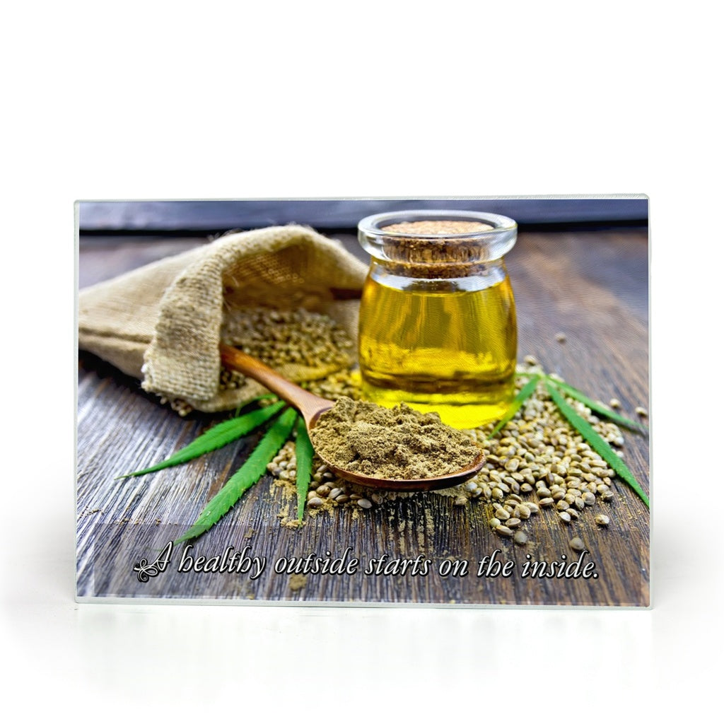 Hemp Oil and Seeds Glass Cutting Board