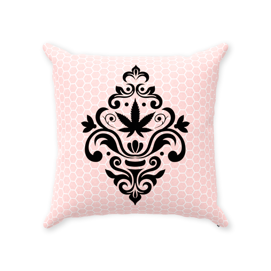 Cannabis Damask Pillow- Pink Honeycomb