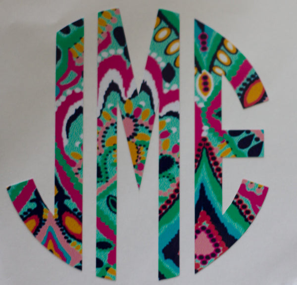 Lilly Inspired Block Circle Monogram Decal