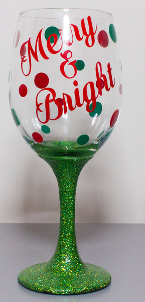 Christmas Glass. Merry & Bright