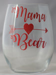 Mama Bear (Heart) Stemless Wine Glass