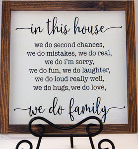 IN THIS HOUSE WE DO FAMILY WALL ART 12X12