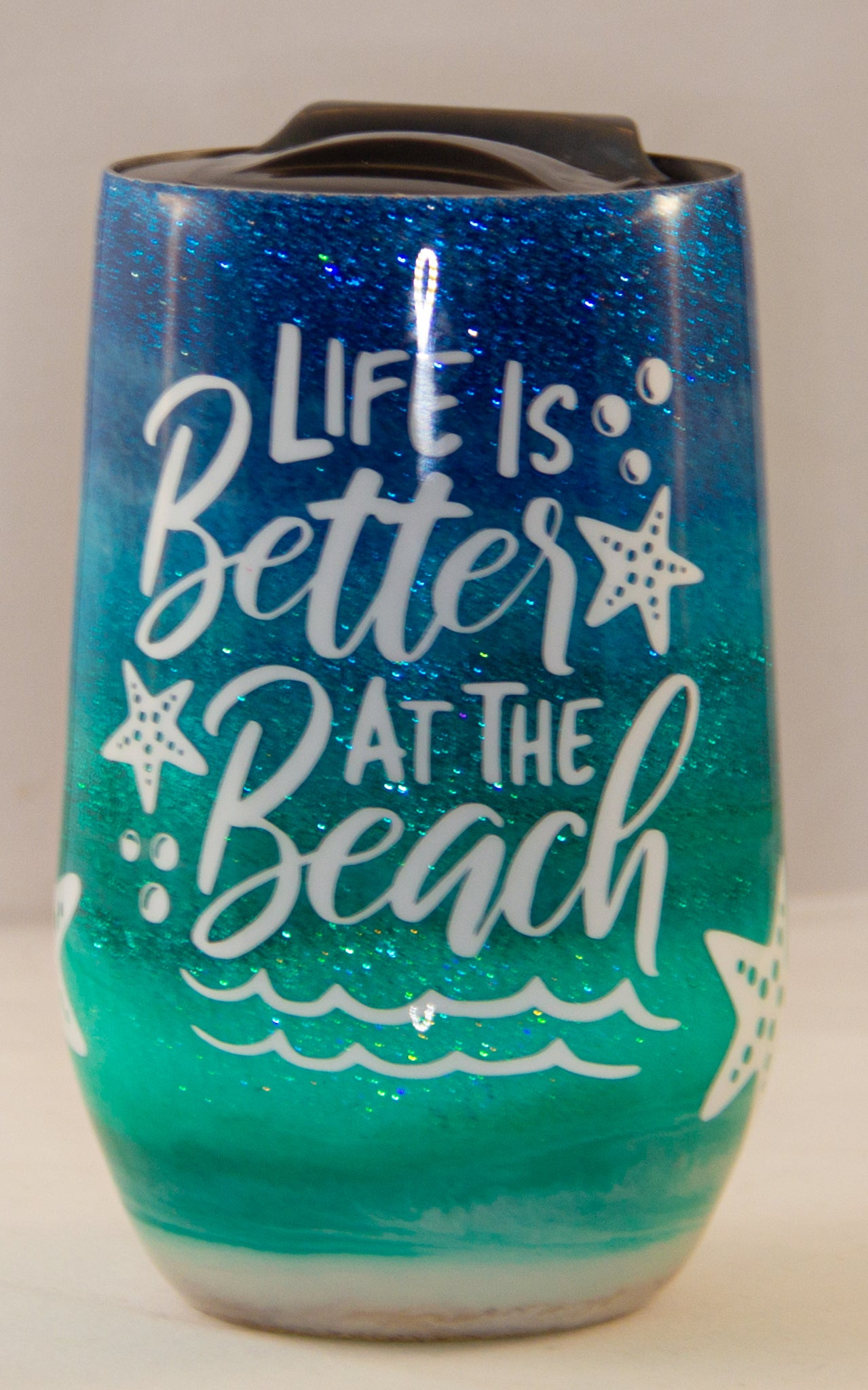 Life is Better at the Beach 16 ounce Stemless Wine Epoxy Tumbler