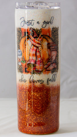 Just a Girl Who Loves Fall Epoxy 20 ounce Tumbler