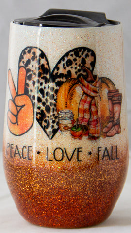 Peace * Love * Fall 16 ounce Stemless Wine Epoxy Tumbler