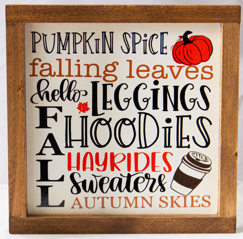 Pumpkin Spice Fall WALL ART 10X10