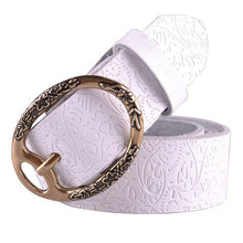 COWATHER Summer high quality cow women embossing leather belts for women strap female pin buckle free shipping cintos feminios