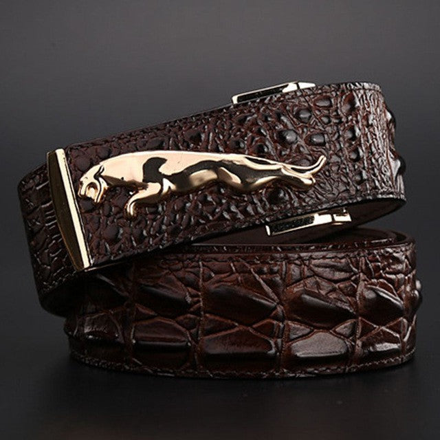 2017 brand new jaguar crocodile style gold belt size 120 cm high quality belts fashion cowboy designer luxury men strap jeans
