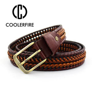 2016 New Belt Man Fashion Mens belts luxury genuine leather braided Real Cow skin straps men Jeans Wide girdle Male MQ1621