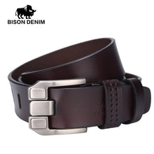BISON DENIM men luxury belts top Cowboy Genuine Leather belt mens leather belts with buckle belts black brown coffee W71018