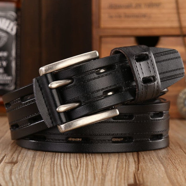 brand new fashion leather belt men high quality designer belts women double needle buckle soft waist strap jeans size 125