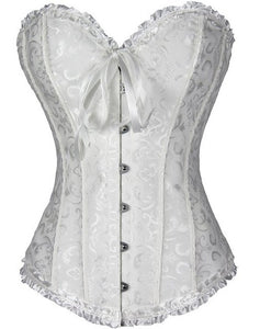 AIZEN Corsets Sexy Women's Plus Size Corsets And Bustiers Overbust Gothic Lace Strapless Brocade Corselet Clothing White Black