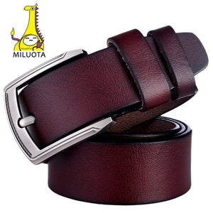 [MILUOTA] Brand Belt for Men 100% Genuine Leather Strap Male Metal Pin Buckle Vintage Mens belts Luxury bt1316