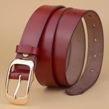 [Veroseice] Hot Designer Genuine Leather Belt Women Luxury Female Strap Black Gold Pin Buckle Leather Women Belt High Quality