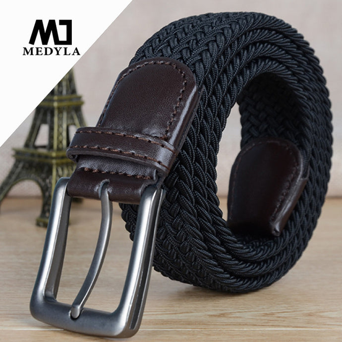 Italian Design Mens Leather Braided Elastic Belt Stretch Cross Buckle Canvas Belts Army Tactical Waistband Male Equipment Strap