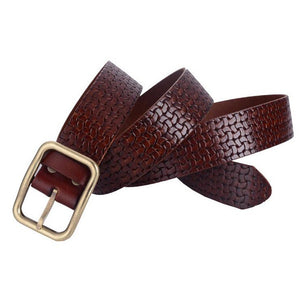 Italian imports woven ribbed layer of brown leather belt men 's brand leather belt male the first of layer Cowhide Leather belt