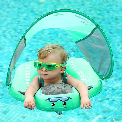 Mambo WaterBabies™ Solid Non Inflatable Baby & Toddler Swimming Ring With Sunshade