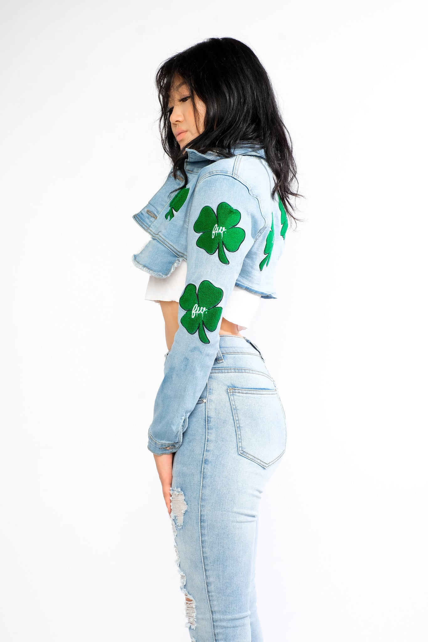 Green Clover Patch Denim Crop Jacket