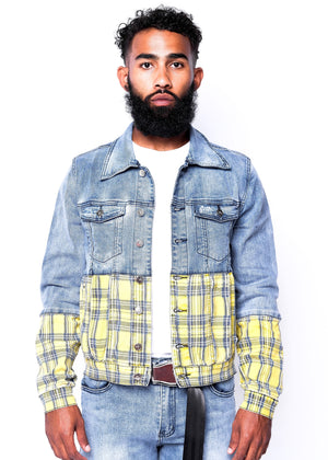Yellow Plaid Split Denim Jacket