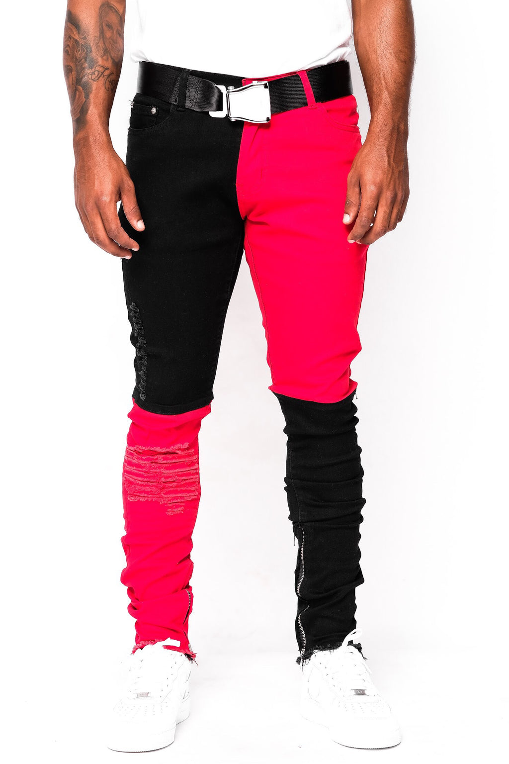 Black and Red Split Denim