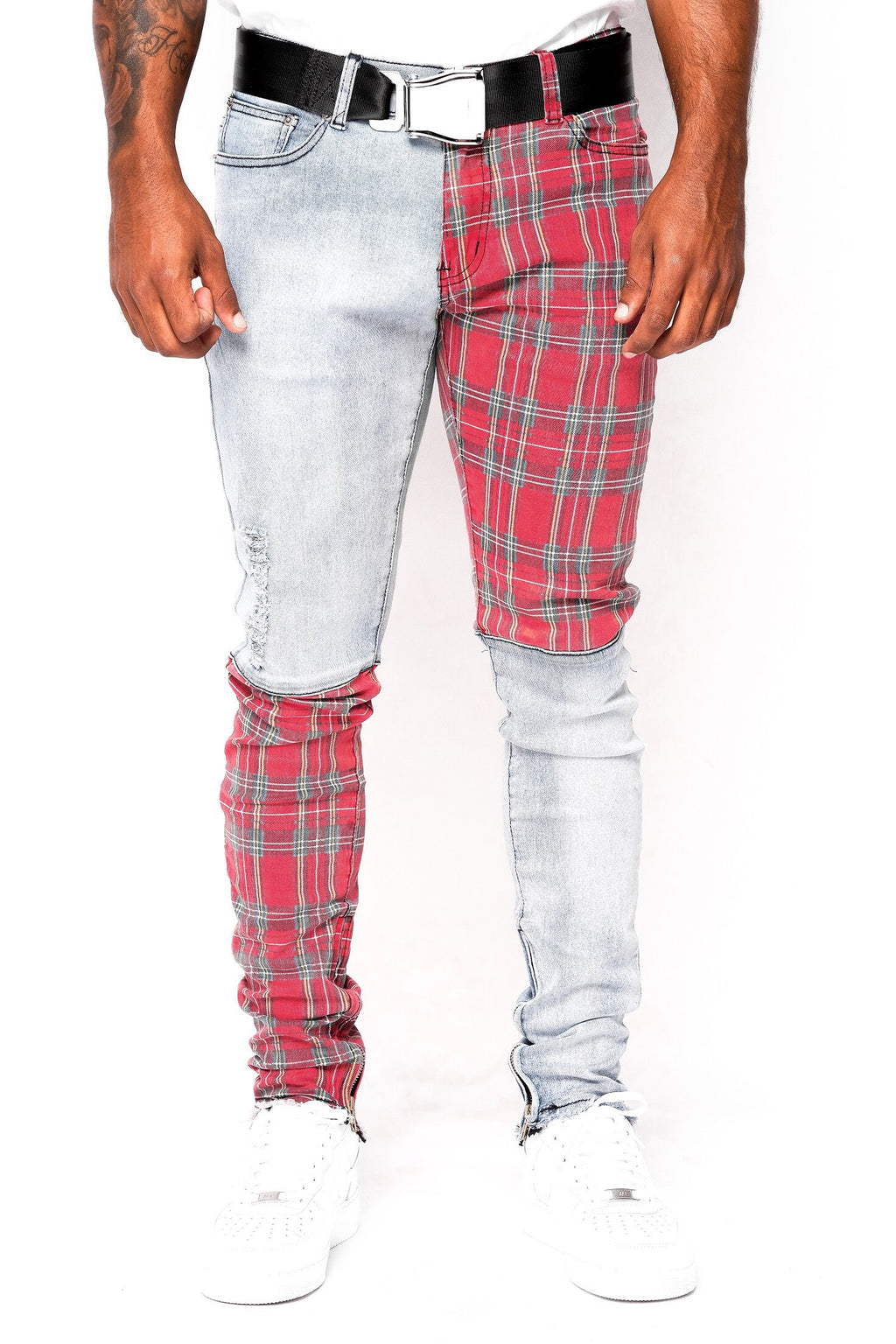 Blue Plaid Split Denim