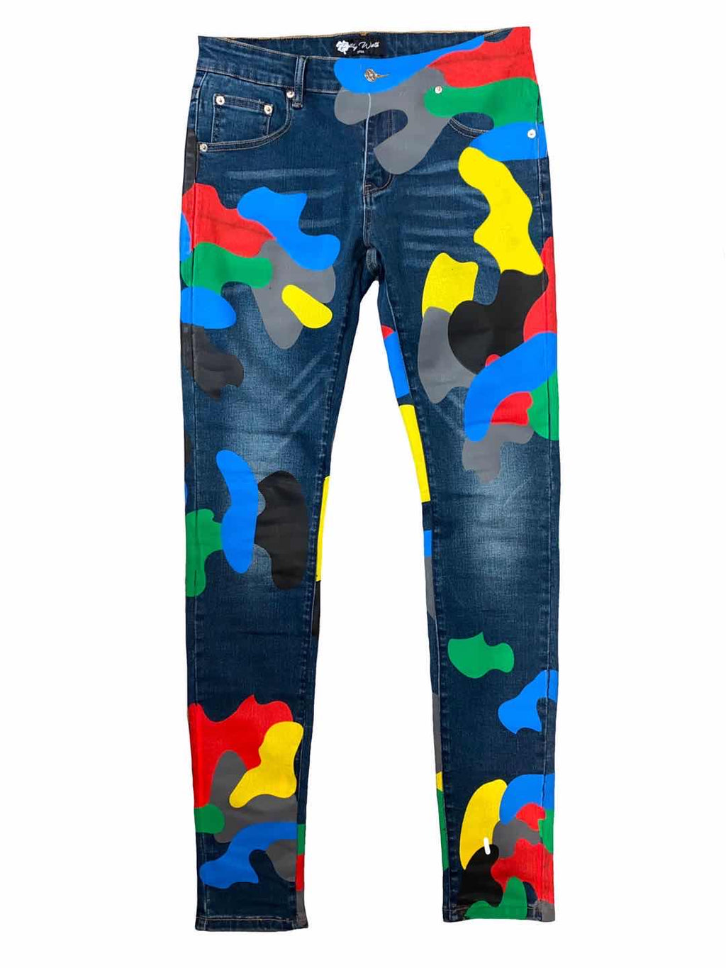 Men Blue Camo Denim Pants