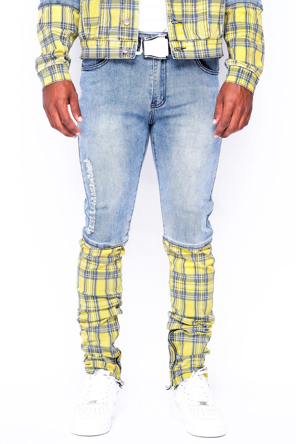 Yellow Plaid Split Denim