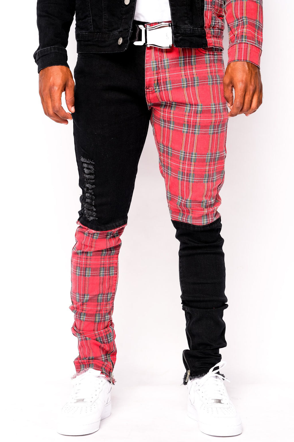 Men Plaid Split Denim Pants