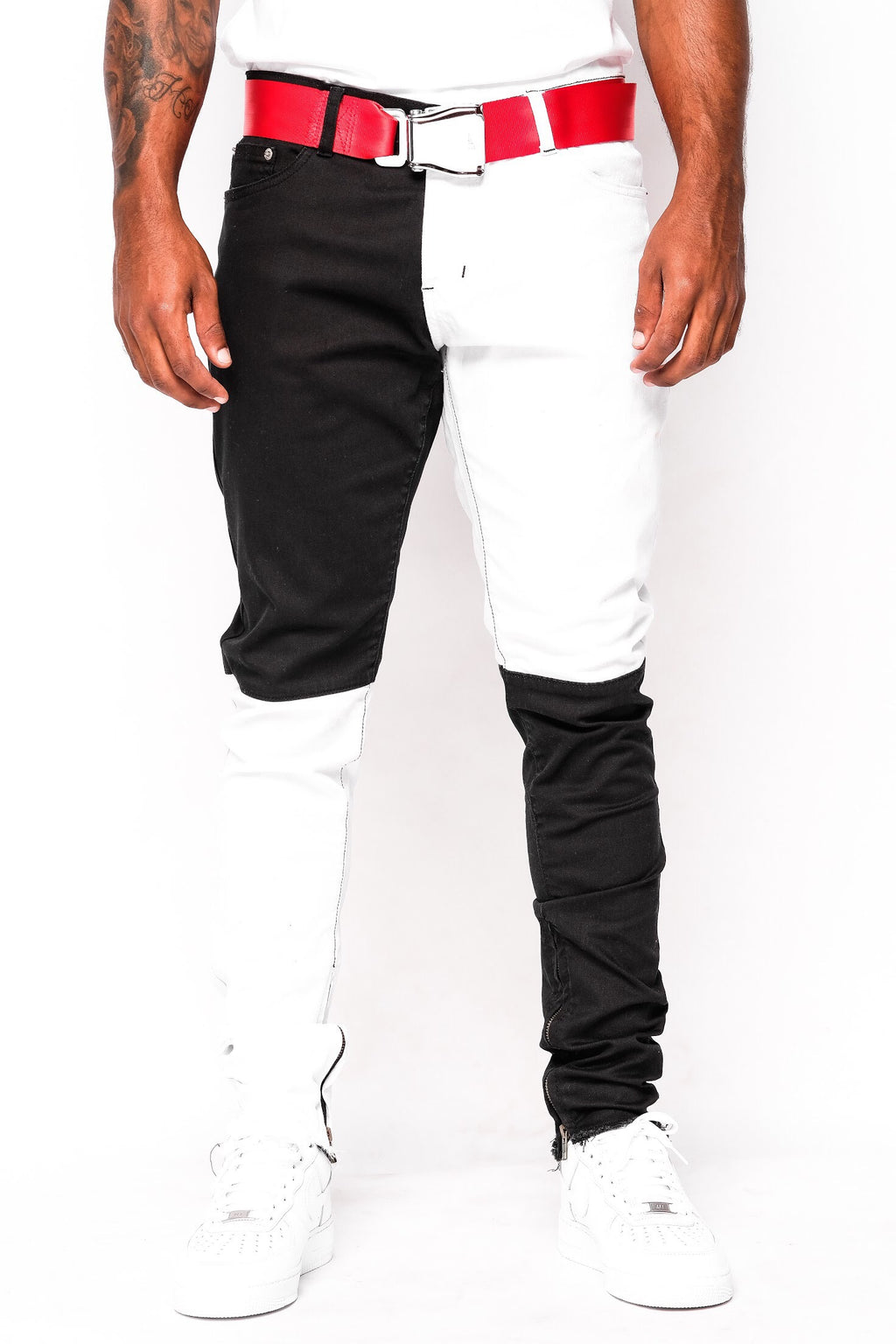 Black and White Split Denim