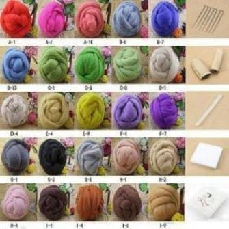 25 Colors Wool Fiber For Needle Felting + Felting Needle Starter Kit