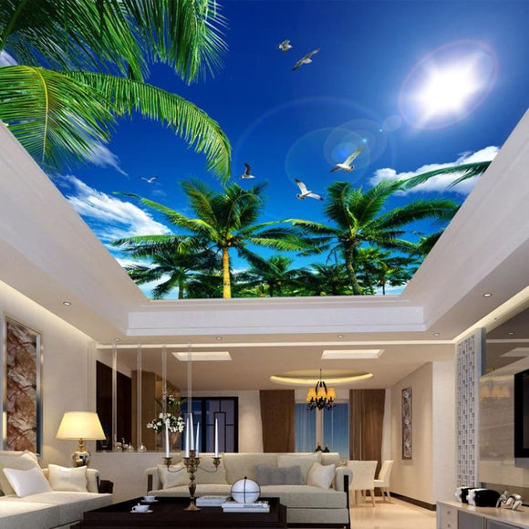 3D Blue Sky White Clouds and Coconut Trees Ceiling Wallpaper - Modern Market Online